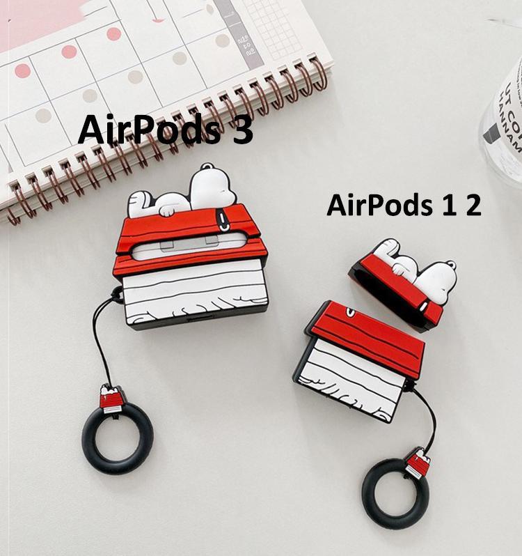 AirPods fone Capa AirPods Pro Caso Snoopy desenhos animados telhado capa para Apple bonito Pro 3 Bolsas Proteja com Carabine gancho