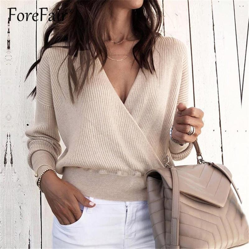 Forefair Knitted T Shirt Women Top Autumn Criss-Cross V Neck Long Sleeve T-shirt Female Knitwear Casual Tops Tees