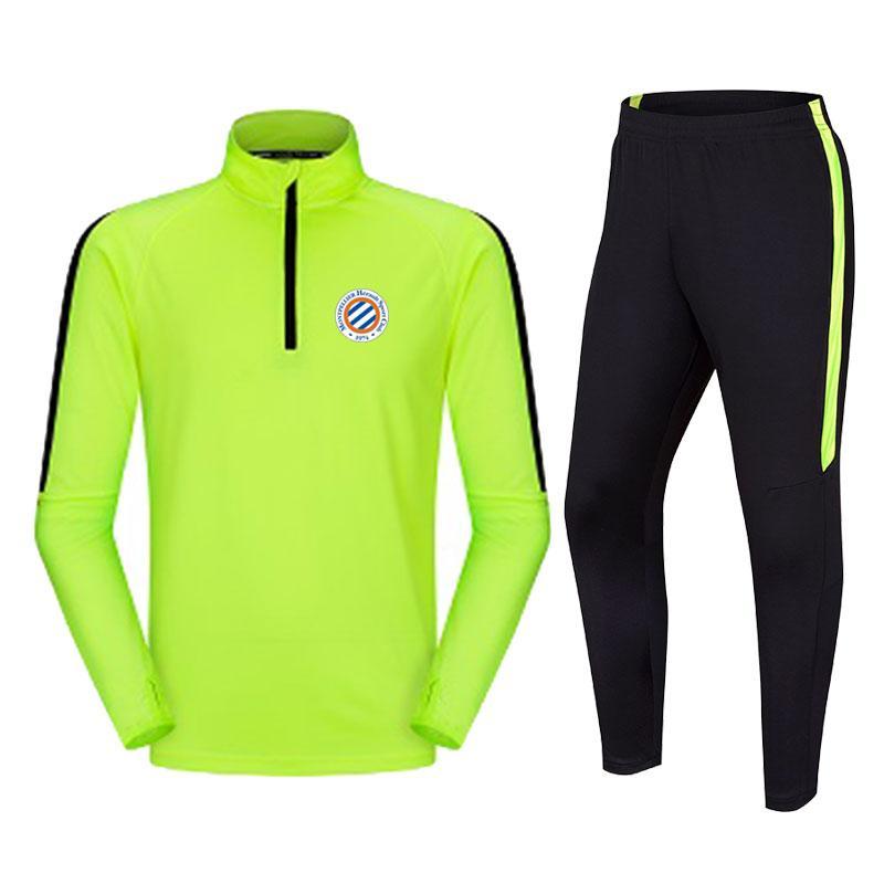 Montpellier HSC Football Club Hot Men's Training Training Suits البوليستر سترة الركض في الهواء الطلق رياضية عارضة ومريحة دعوى كرة القدم