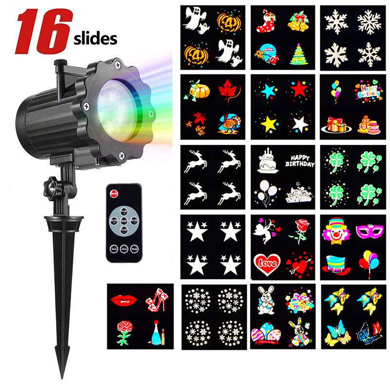 LED projection light stage colorful film projection light Removable 16 Patterns waterproof christmas Laser light with remote control