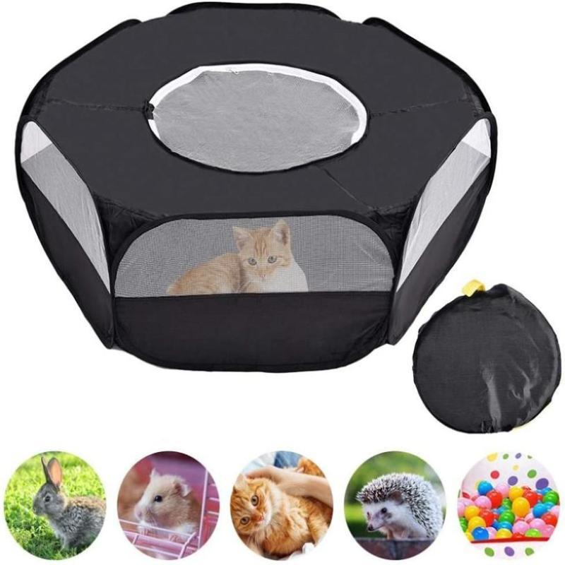 2020 Pet Playpen Portable Open Indoor Outdoor Small Animal Cage Tent with Zippered Cover Yard Game Playground Fence Pet Supplies