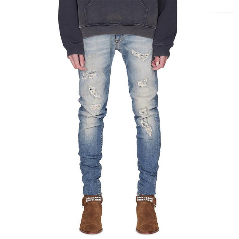 Distrressed Skinny Casual Boys Trousers Spring Mens Hole Ripped Jeans Black Blue Slim Fashion Male Pencil Pants