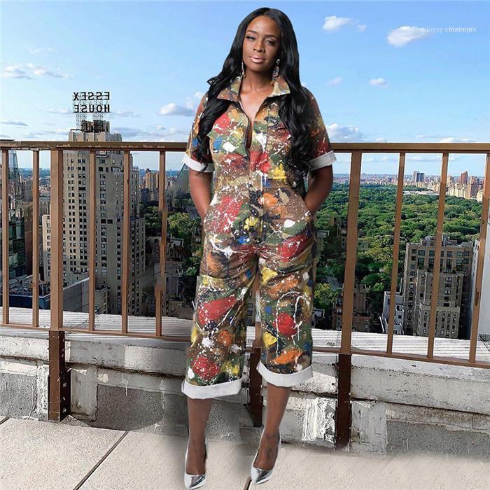 Pantolon Aşağı Yaka Kadın Giyim Moda Stil Gündelik Giyim Bayan Yaz Tasarımcı Tulumlar Kamuflaj Kısa Kollu Uzun yazdır çevirin
