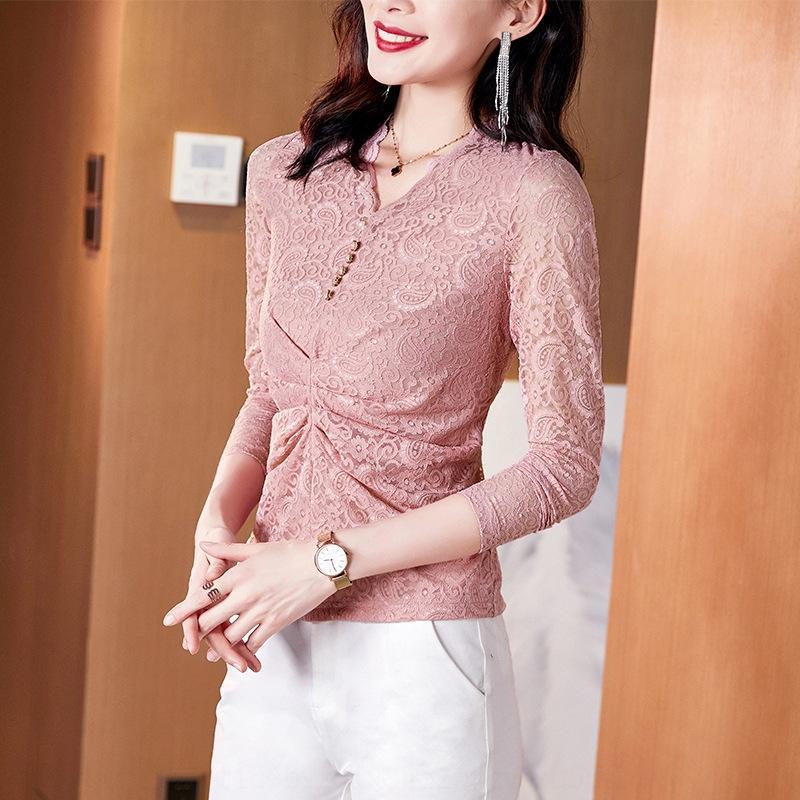 fcJJH 203070 осени новый базовый розовый шнурка для шнурка рубашка Женщина 2020 осенью Новой элегантной тонкой гофрированной рубашки для женщин
