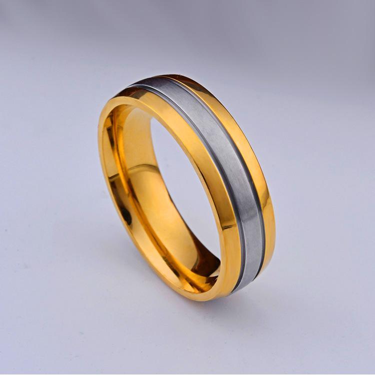 Joyería al por mayor baño de oro Anillos zircon embutido-micro para los hombres y las mujeres parejas de titanio anillo de acero