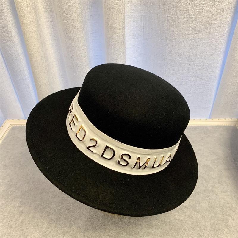 Kadın Geniş Brim Sıcak Altın Harf Webbing ile Panama Şapka Keçe Fedora Şapka% 100 Yün Keçe