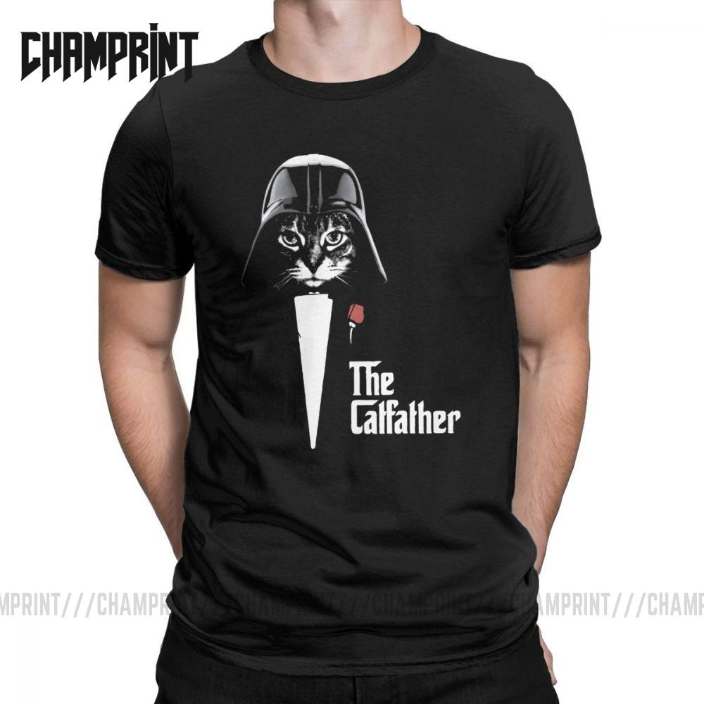 Die Catfather Samurai Katze T Shirt Liebhaber Kitten Liebe Meow Tier Funny Pet-T-Shirt Kurzarm T-Shirt aus 100% Baumwolle Tops