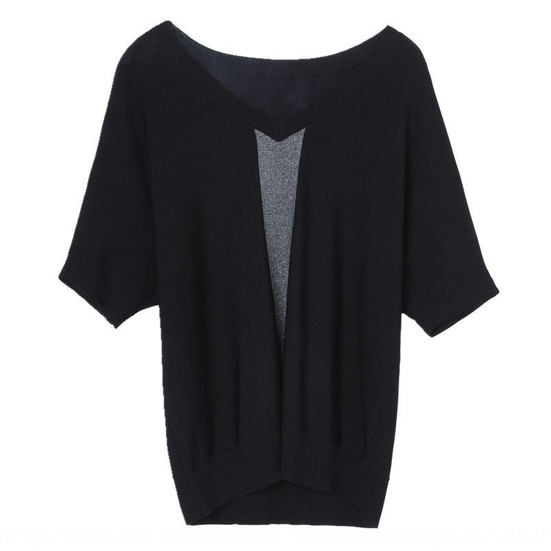 Seda de hielo Punto Ropa 2020 nueva T- verano delgada camisa de cuello en V camisa pequeña de mediana edad de la mujer madre de las mujeres T- manga corta