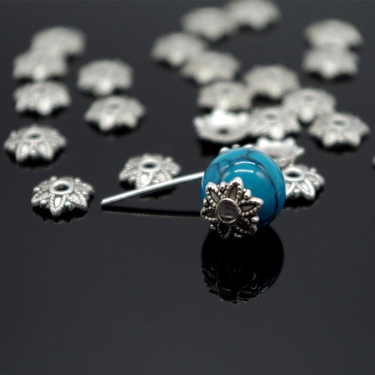 1000pcsTibetan Style Silver Plated Flower Metal Bead Caps Bead End Caps 7mm Filigree Jewelry Findings Connector Beads Cap Diy Jewelry