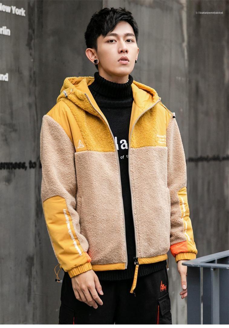 Vestes d'hiver chaud en vrac à capuchon des hommes du survêtement lambrissé Designer vestes pour hommes contraste couleur manches longues pour hommes