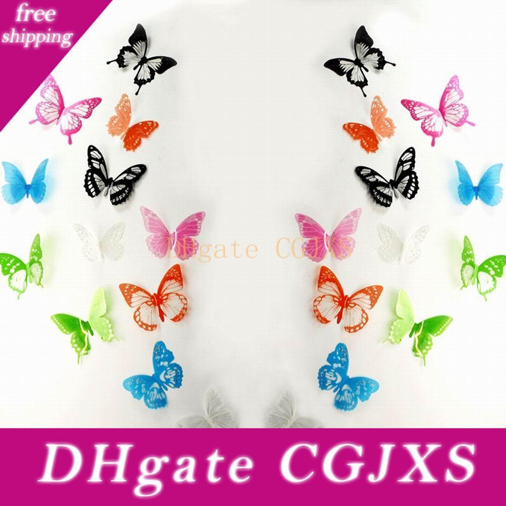 12pcs = 1set 3d borboleta Decalques multicoloridos de pvc adesivos de parede para criança TV Quarto Home da parede de casa Decoração de Moda de Nova St023