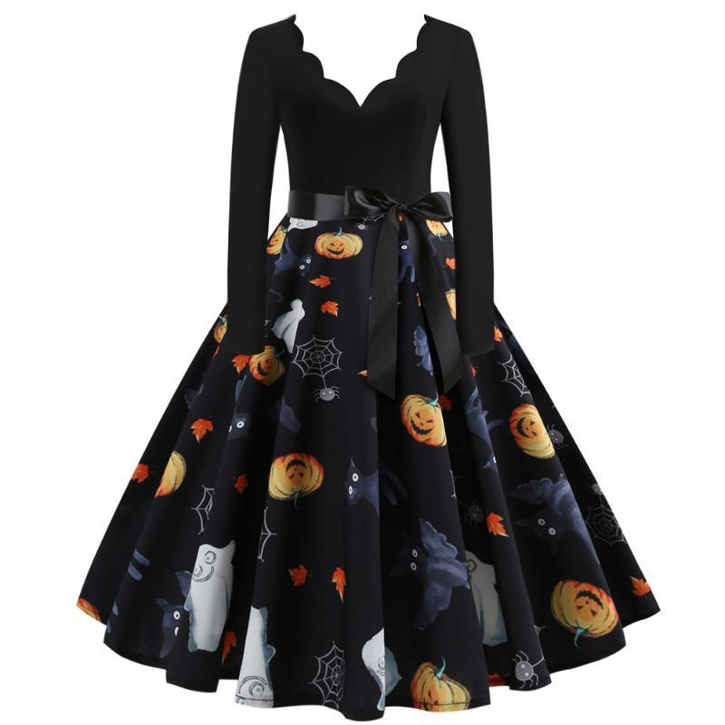 Повседневные платья Осенние европейские и американские стиль моды Halloween V-образным вырезом сгоревшая цветок с шитью длинные рукава Большие качели платье женское Loos