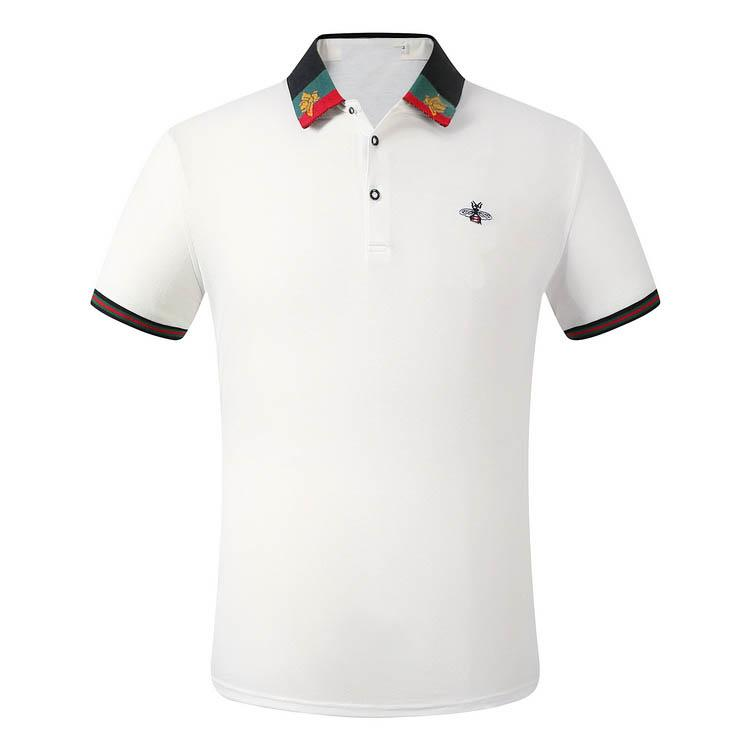 럭셔리 패션 클래식 남성 자수 셔츠 면화 망 디자이너 티셔츠 화이트 블랙 그레이 폴로 셔츠 남성 M-3XL