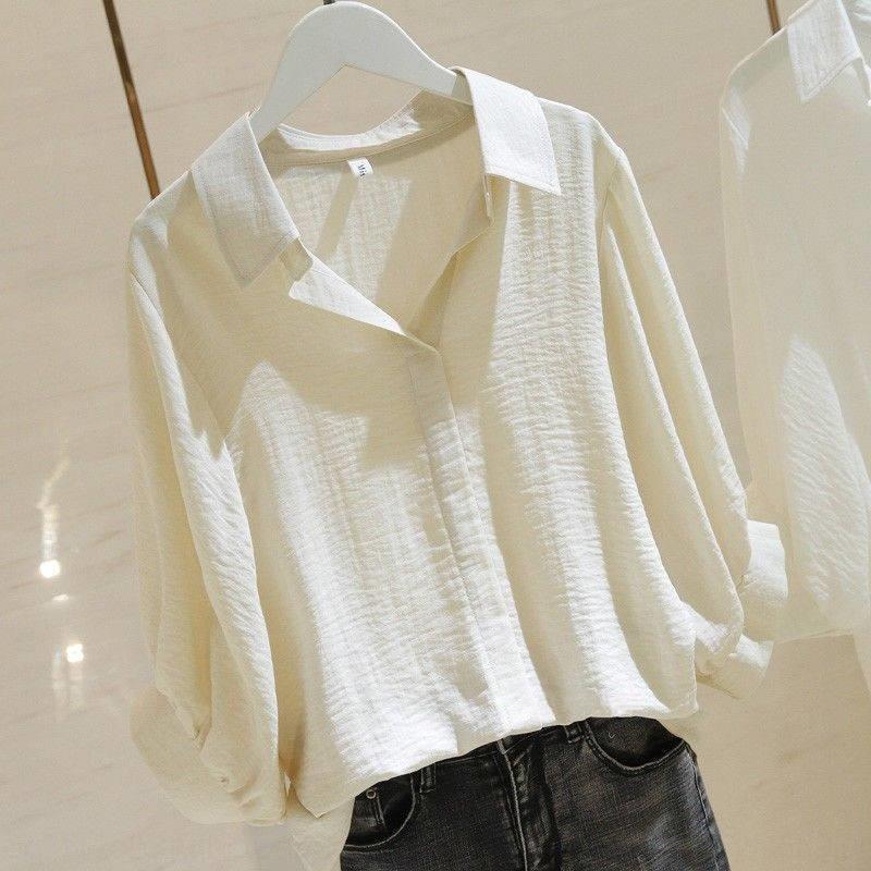 PrP3J de Kr6Xg Loose Women 2020 camisa Verão pulôver branco e simples de algodão V-neck pullover camisa frente curta novo longa de volta manga morcego para w