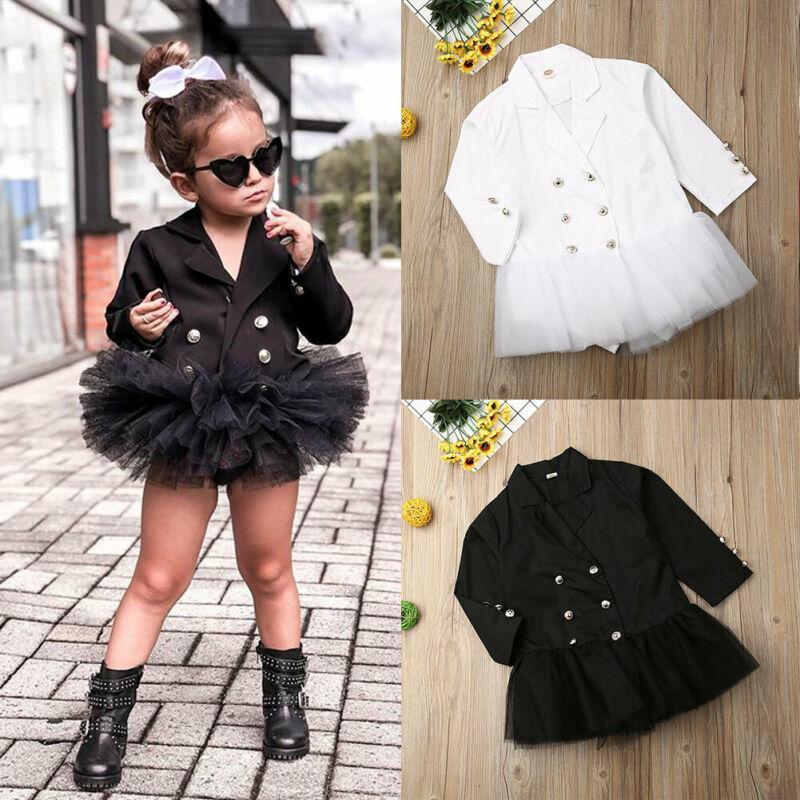 Säuglingskinder Kleidung Baby Langarm-formales Spitzenkleid Anzug Rock Get Together Kleidung beiläufige Klage-Kleid