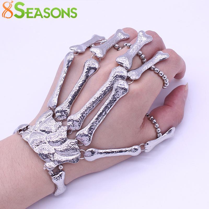 8seasons Скелет Кости рук Палец Браслет гибкий Пальцы Bone Подарок Halloween Ночной клуб Punk Мода браслет 17см, 1 шт