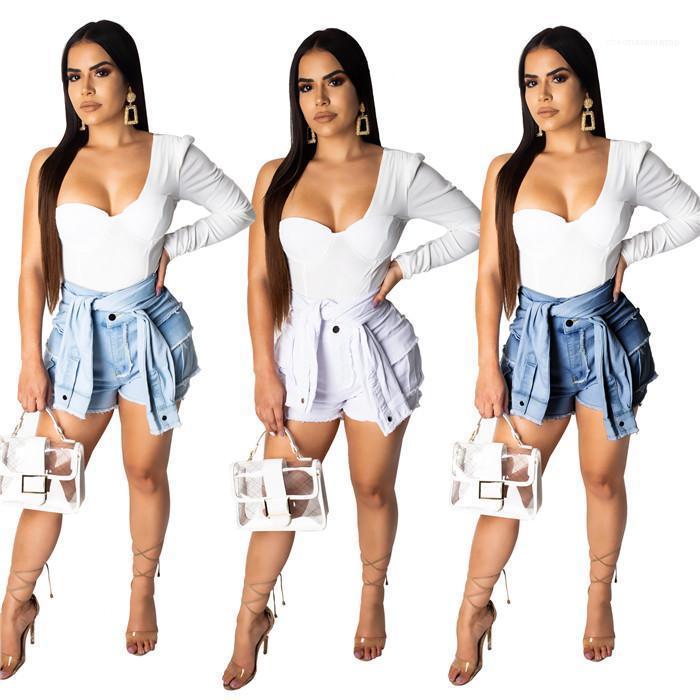 Yüksek Bel Demin Kısa Kadınlar Tasarımcı Moda Casual Giyim Kadın Bandaj Vintage Püskül Şort Kadın Yaz Seksi Sahte 2adet
