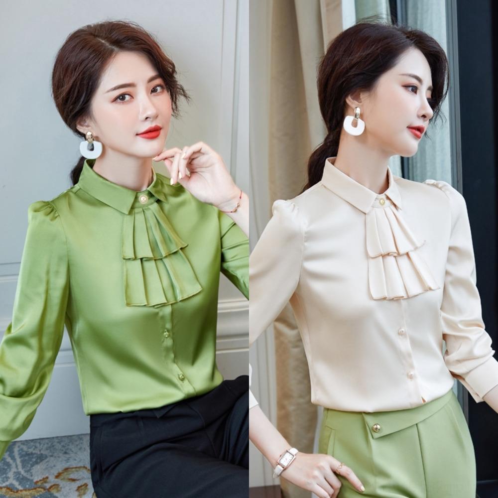 gBWln iZjmJ женщины и осень зима нового длинные рукава одежды бизнес Зеленый Корейского стиль элегантного рубашка все-матч и способный дизайн женщины SH