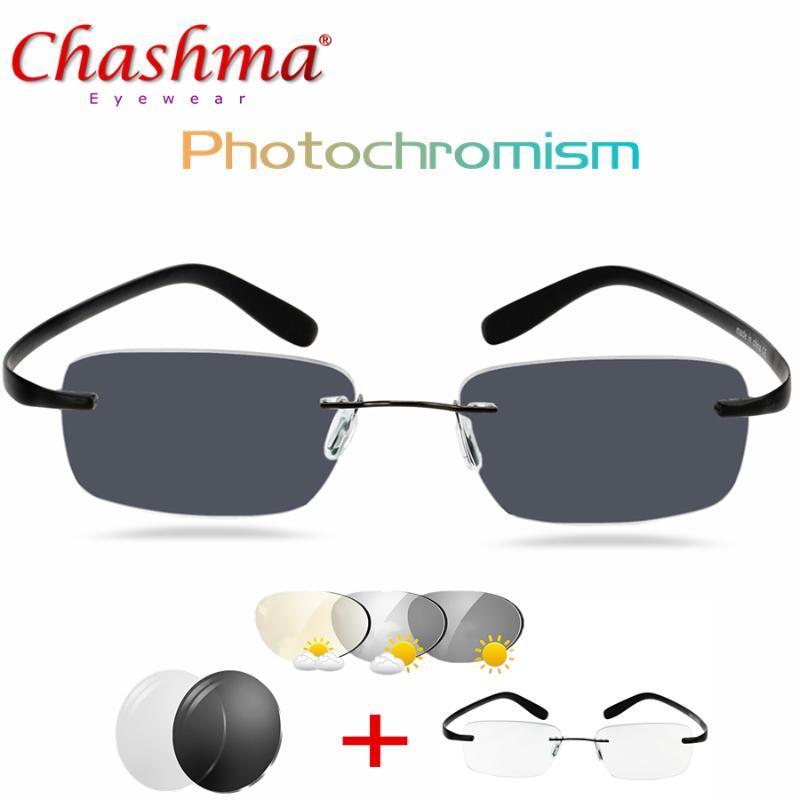 Occhiali da sole Transizione in titanio Pochromism Lettura Occhiali da uomo Hyperopia con diotteri Presbiopia Rimles