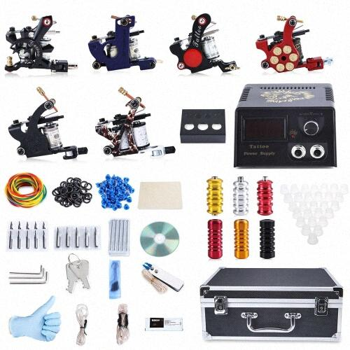 2017 Professional Tattoo Kit 6 Machine Guns Shader Liner Power Supply 50 Needles Tip With Store Box Tattoo Set Three Pin US Plug HSyn#