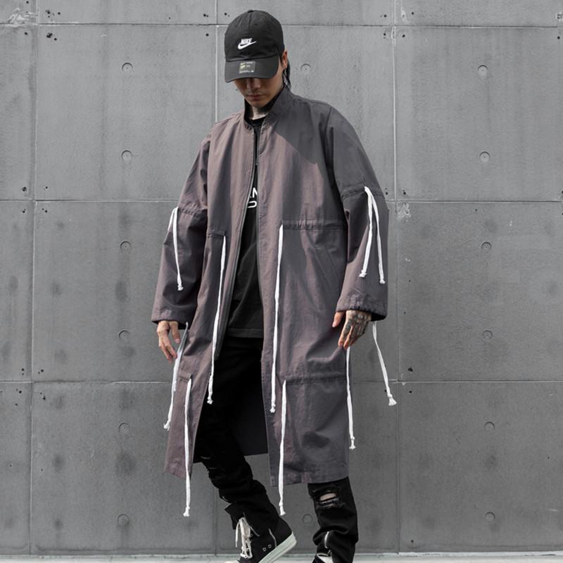 Trench Uomo Cappotti Hip Hop Black Grigio Grigio Cappotto lungo per uomo Stand Colore Autunno Autunno