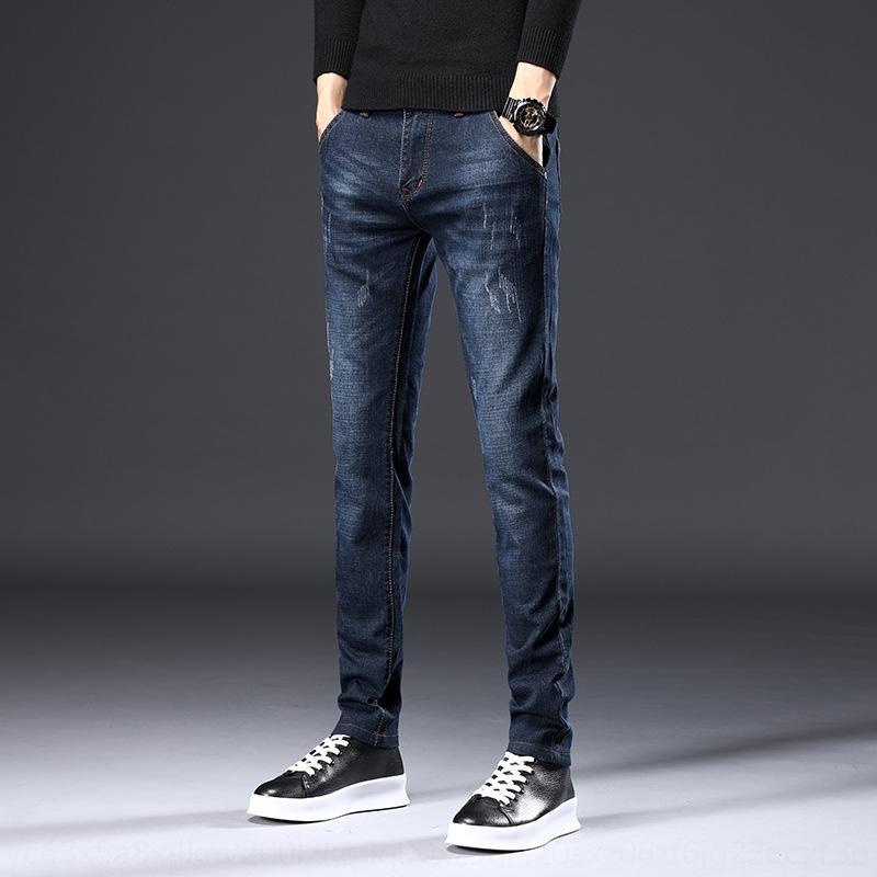 marca de moda preto 2019 novo engrossado ajuste estilo fino pés coreano calças de Dldpm Homens GjwfL casuais outono calças jeans da moda longas e