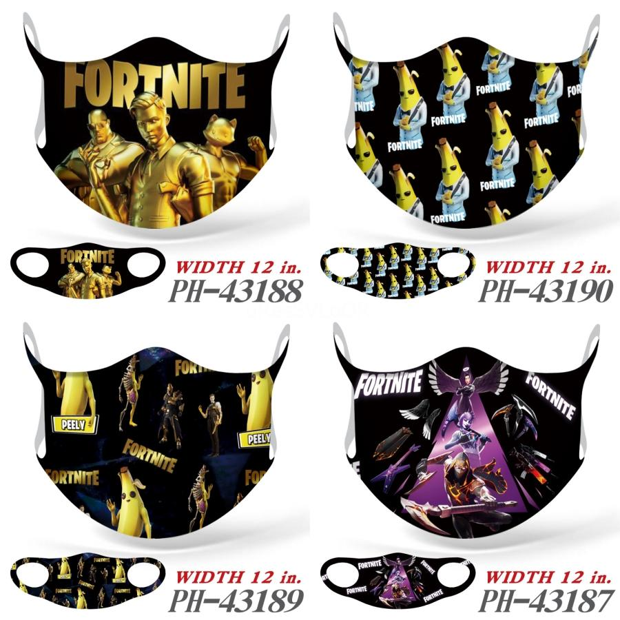 50pcs Máscaras Transparente FaceFortnite MasksCamouflage lavável reutilizável Fortnite Fortnite Poeira Fortnitefog Limpar Designer FaceFortnite Mas # 830