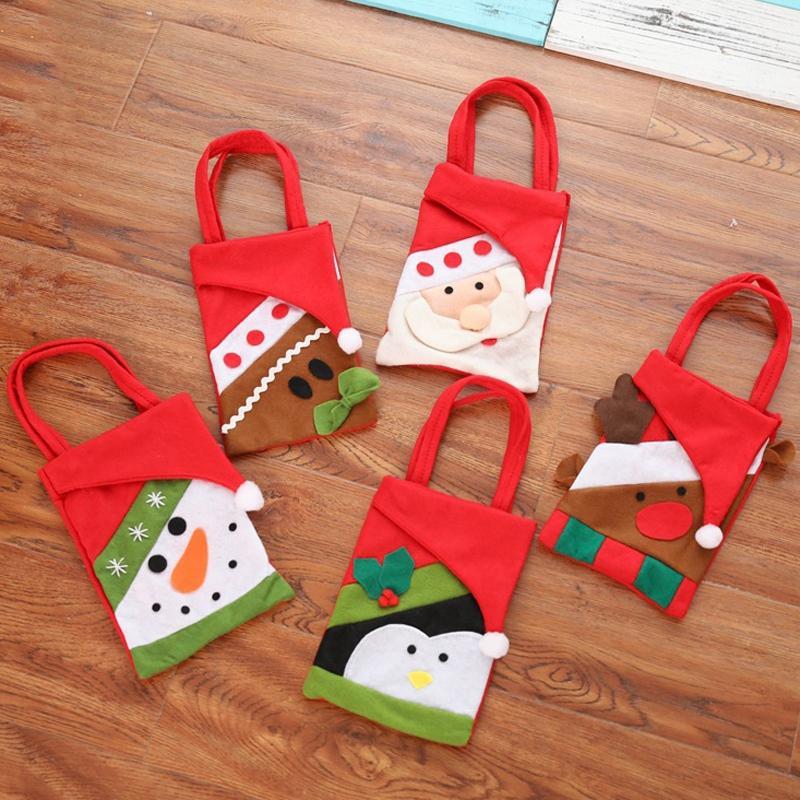 Noel Şeker Bez Çantalar Çocuk Hediyeler Nefis Xmas Parti Dekor Çanta Karikatür Santa Hediye Saklama Torbaları Ev Navidad Ağacı Süsler TQQ BH0299