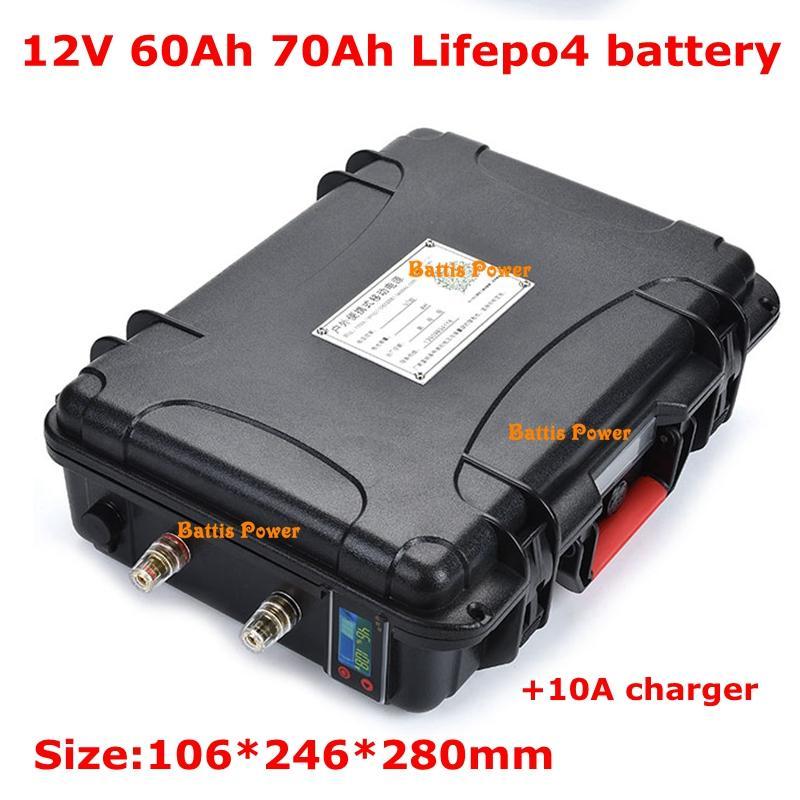 70AH 12V portátil 60Ah Lifepo4 bateria de lítio com BMS para inversor de energia de backup RV Boat Golf Cart + 10A Carregador