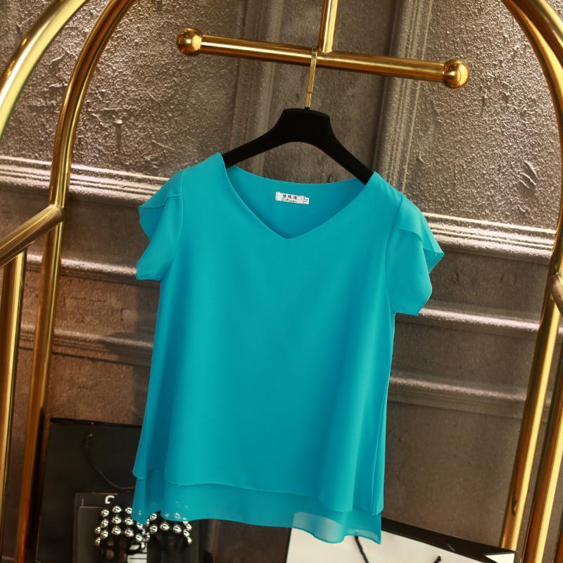 Fashion Brand manches courtes blouse de femmes d'été Nouveau en mousseline de soie chemise Sheer V-cou chemisier Casual Taille Plus 6XL en vrac Hauts pour femmes