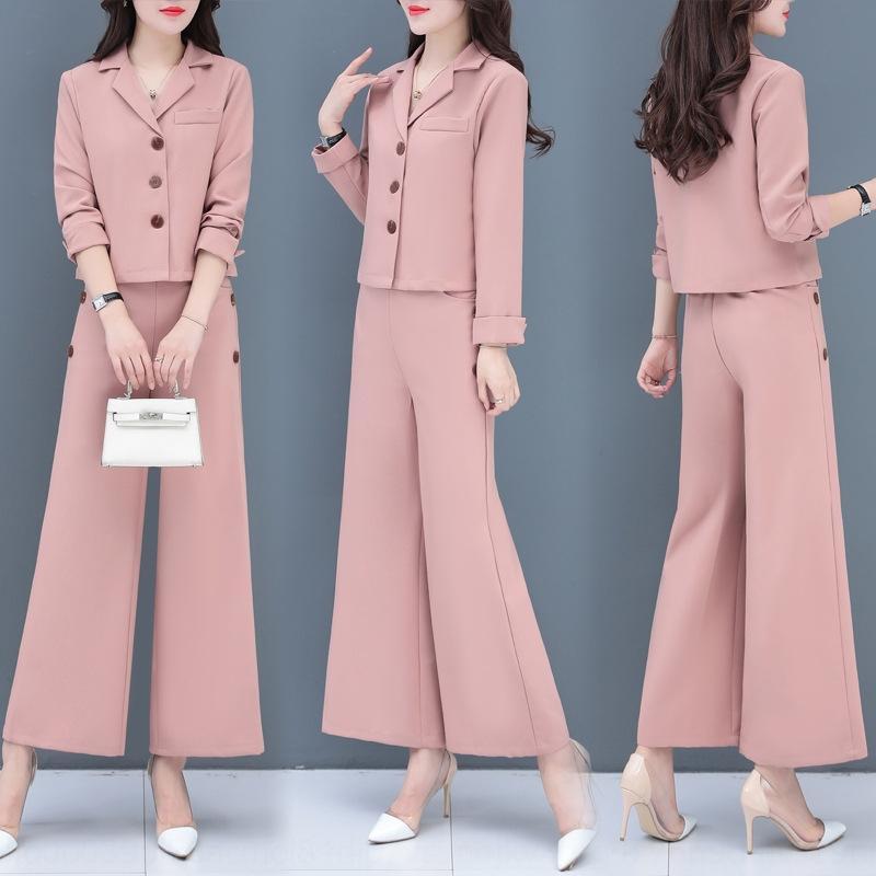 traje de otoño 2020 Nueva Corea EANT estilo de dos piezas de desgaste del juego de moda otoño ArqSM r14TW principios de los pantalones de pierna ancha mujeres pantalones de pierna negocio Wid
