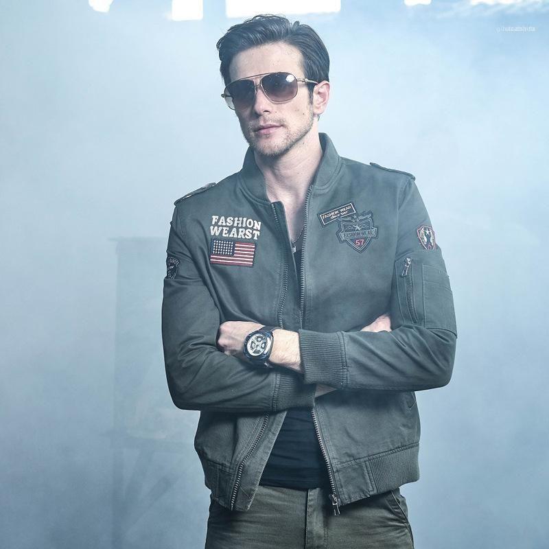 Cerniera Coats stand colletto della giacca a maniche lunghe ricamo Uomini Abbigliamento Uomo Autunno Cargo Giacche Solid Paneled