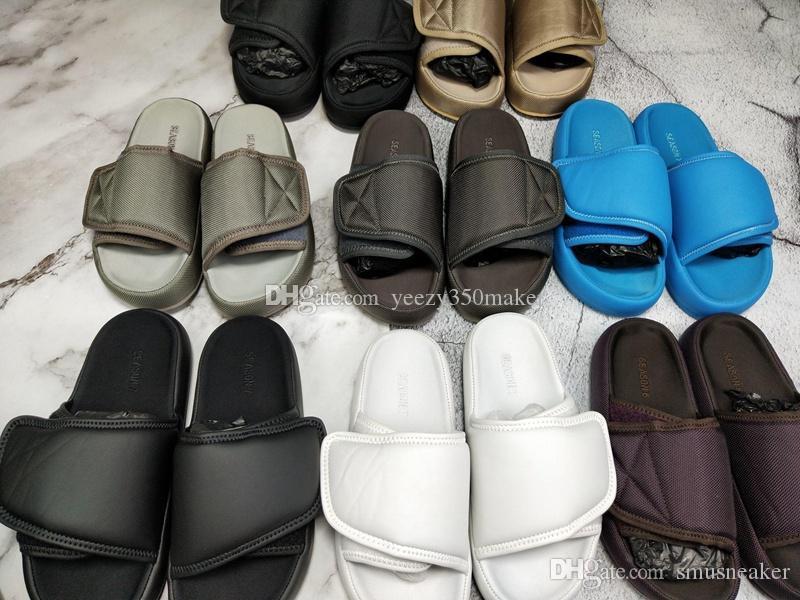 Dernières Designer Shoes Kanye saison ouest 7 sandales pantoufle OG Summer Beach Intérieur plat Chaussons Tongs sandales NYLON COULISSES avec la boîte