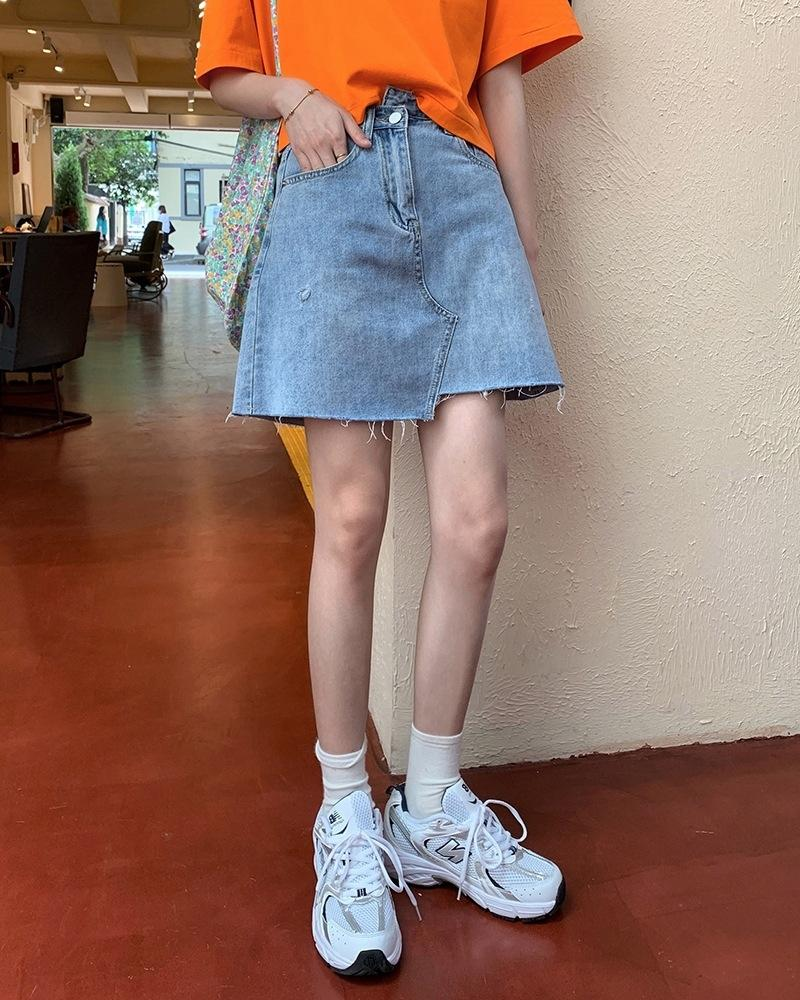 s4kI3 été haute couture irrégulière jupe denim laine minceur A- taille de caractère en forme de jupe denim laine