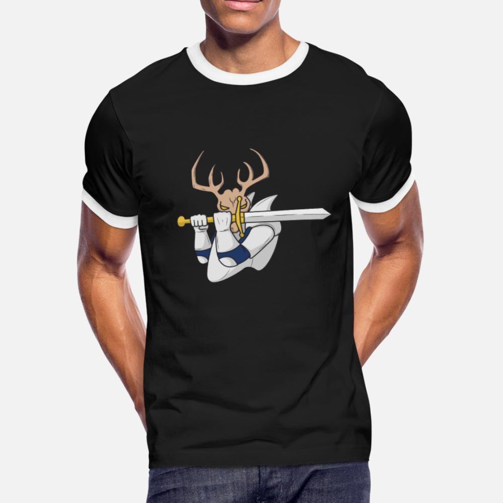 Stag Knight Bachelor Party de Epic camisa de hombres de la camiseta de manga corta de punto luz del sol de cuello redondo del estilo del traje de verano Edificio camisa delgada