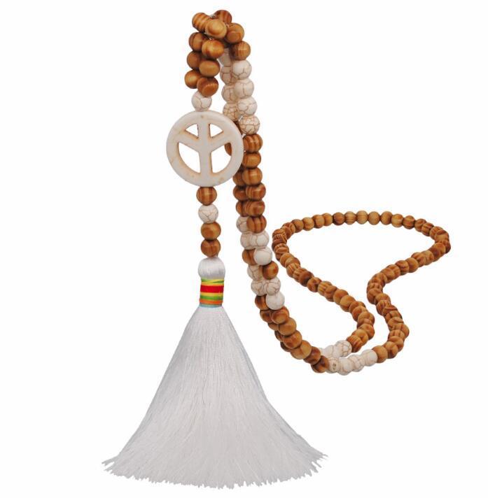 Hecha a mano el grano de madera de estilo étnico suéter cadena hembra turquesa larga línea blanco borla collar y WY1580 colgante estándar plana
