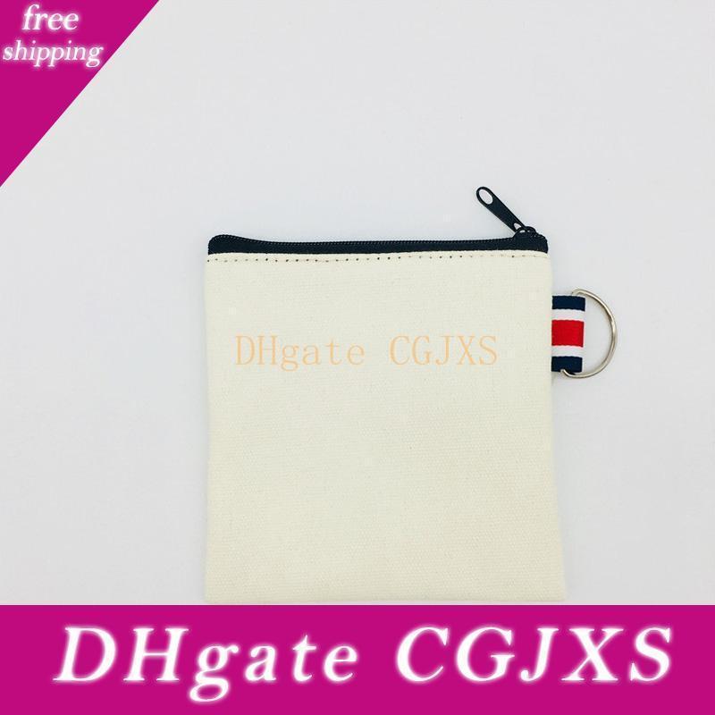 Pure em branco lona de algodão Zipper Bag lona de algodão Coin Purse algodão Cosméticos sacos de maquiagem sacos Key Storage Bag Lx1515