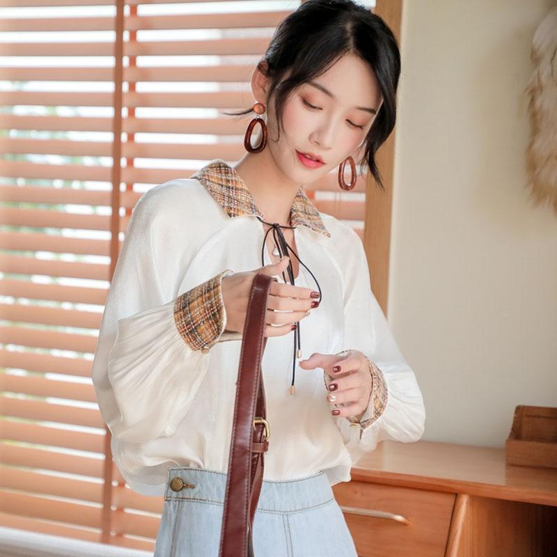 Ivnzr rosa perla shell pullover bianco Bianco camicia lunga primavera manicotto delle donne e l'autunno top pullover con scollo a V