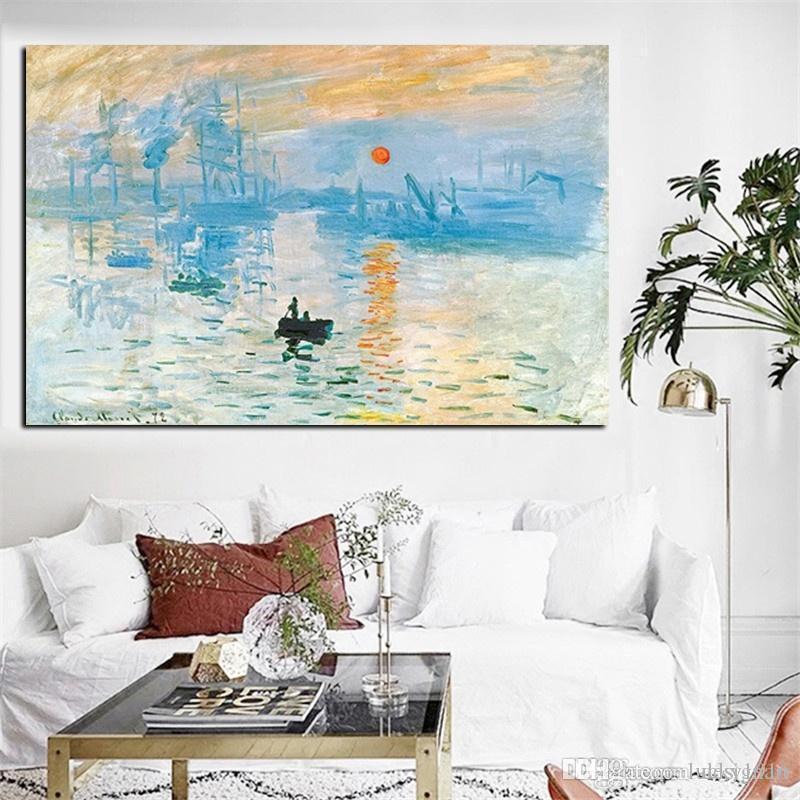 Salon Modern Ev Dekorasyonu için Claude Monet Giclee Wall Art Poster Baskılar Nordic Resmi By Boyama Gösterim Sunrise Peyzaj Yağı