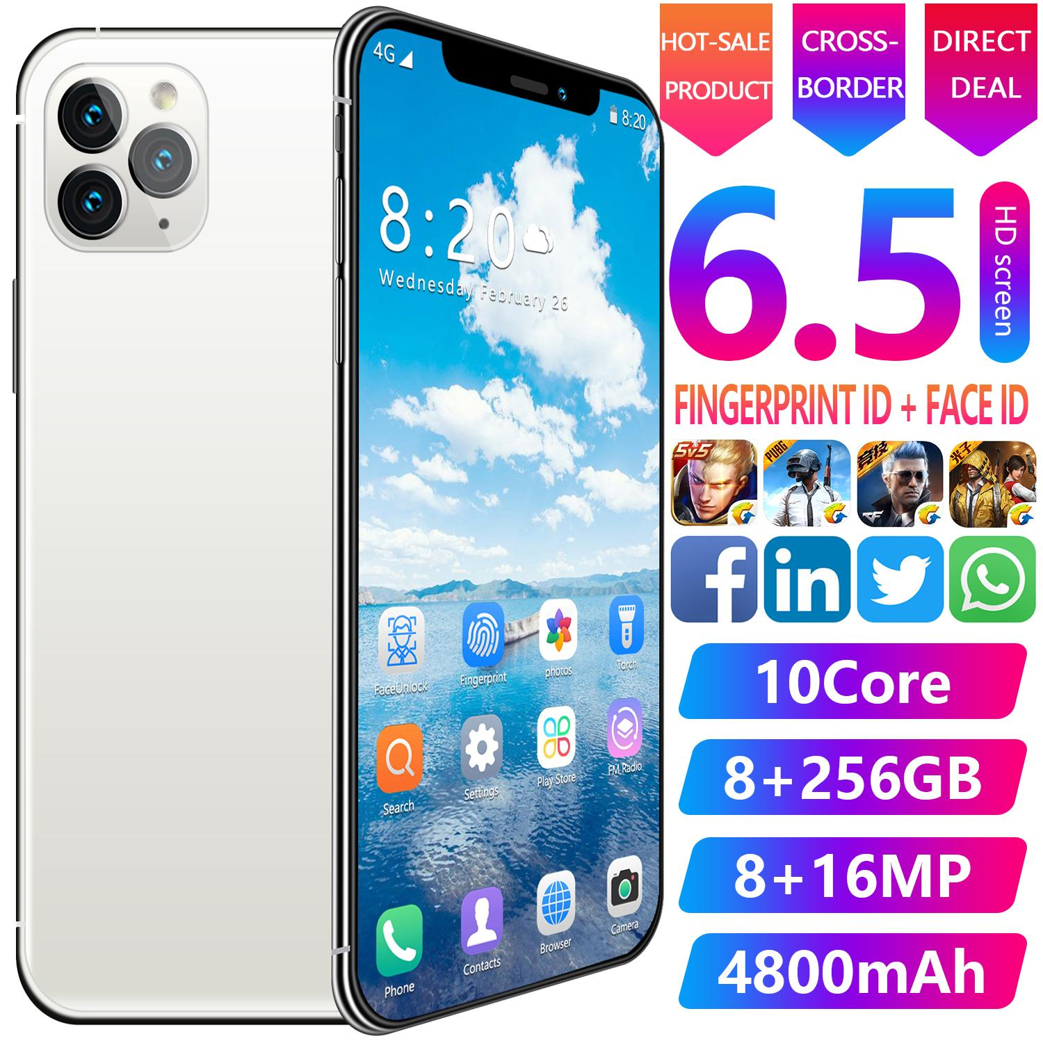 Dual SIM del teléfono móvil Tarjetas 3G 4G Teléfonos Móviles Celulares inteligentes Global Version smartphone androide 6.5inch Face Unlock