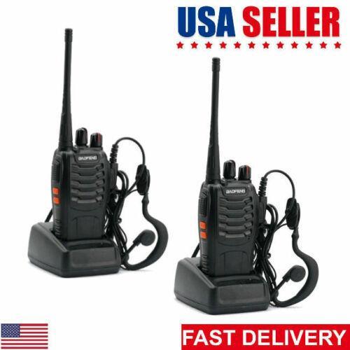 2Pcs Набор BF-888S Ручной Рация 5W 400-470MHz 16-CH Black Two Way Радио переговорные Мобильный портативный для охоты Радио США склада