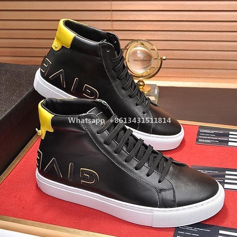Drop Ship High Top reverso Sneakers Em Couro Mens Botas Top Quality Vintage Shoes Lace -Up Plus Size Homens Sports Shoes Zapatillas Hombre