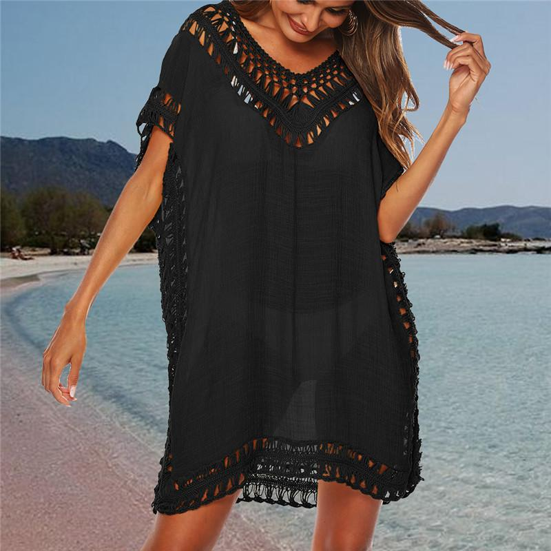 Bikini Summer Cover Up Casual Kimono manches plage Top col en V Floral Lace creux Beachwear tunique de plage