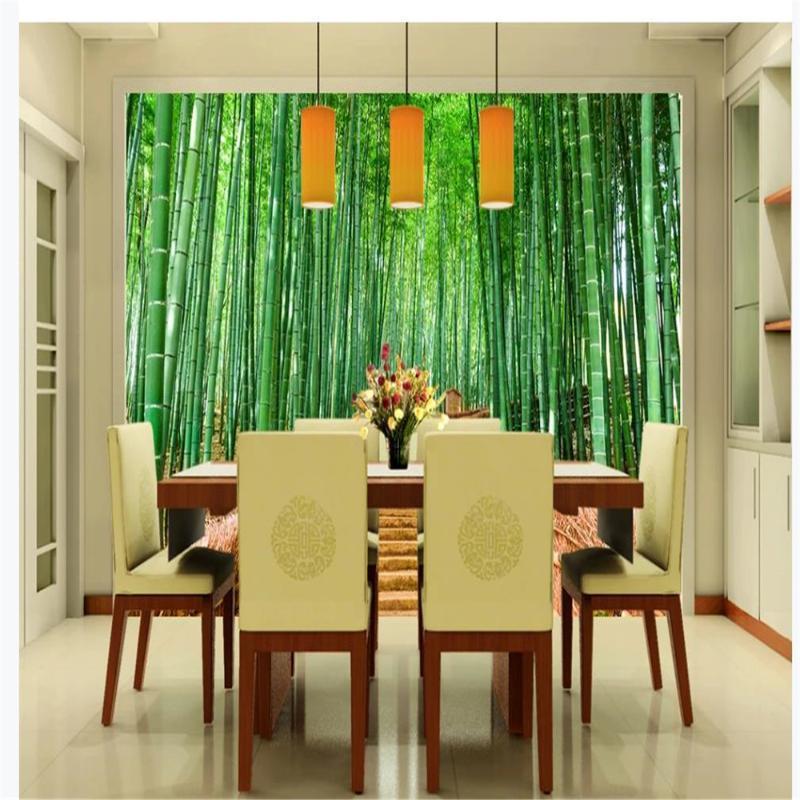 Personnalisé de beaux paysages Fonds d'Peinture décorative de papiers peints bambou mur de fond de paysage