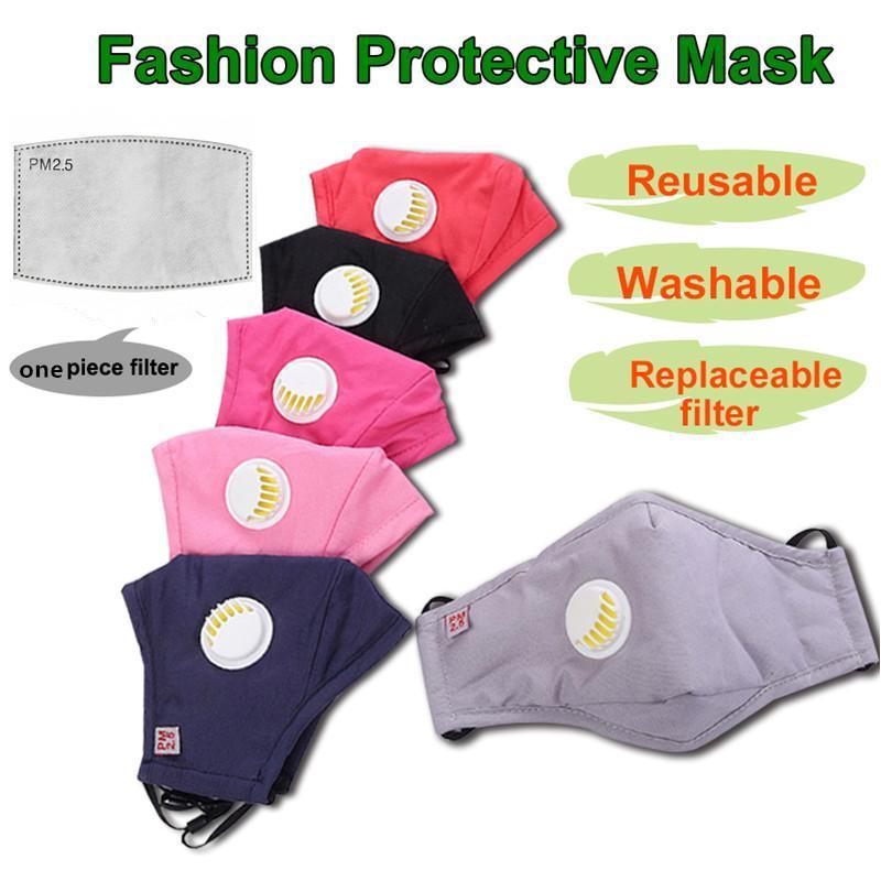 Masques en stock réutilisable unisexe coton visage avec Souffle PM2,5 Valve bouche Masque anti-poussière Tissu Masque Masque lavable Avec filtre 2020