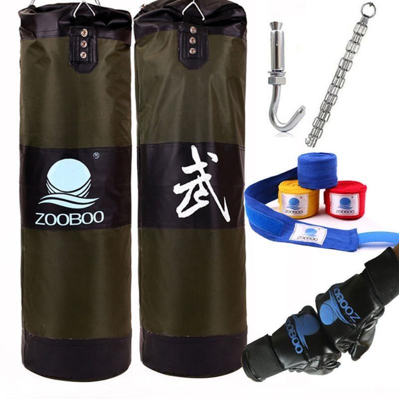 90cm Entraînement Fitness Sac de boxe Crochet Suspendre Saco de Boxe Sac de combat Sand Punch Punching Sandbag avec des gants