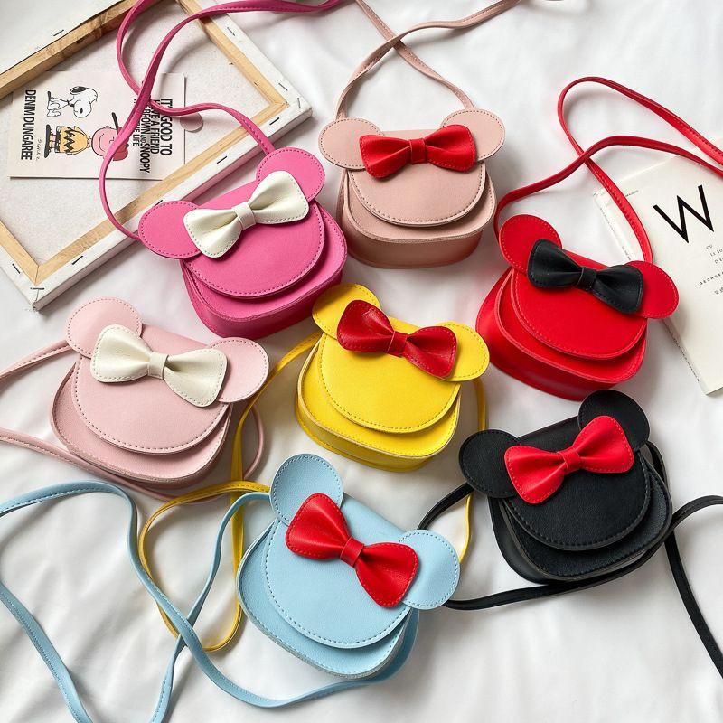 새로운 여자 지갑 핸드백 어린이 지갑 작은 동전 상자 가방 귀여운 마우스 활 아이 돈 가방 아기 토끼 숄더 가방 지갑