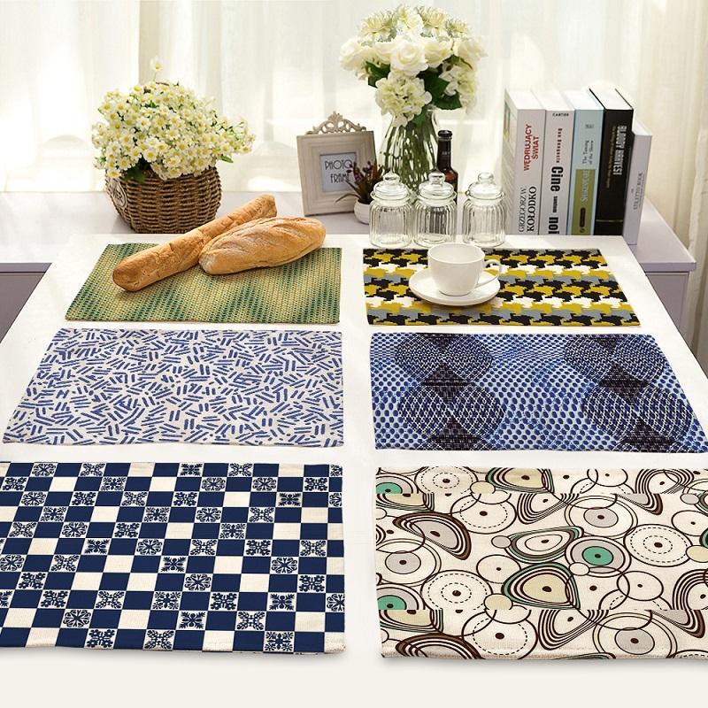 Artístico abstracto Mandala geométrica Vida 4 piezas Juego de mesa de la cocina tapetes de algodón ropa de mesa Servilleta patrón decorativo Individuales
