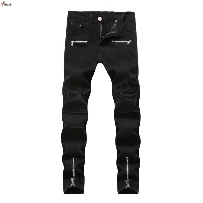 Новые мужские джинсы Черный Белый Красный High Stretch рваные джинсовые брюки хлопка Удобные брюки джинсовые бренды джинсовой Homme Байкер Джинсы