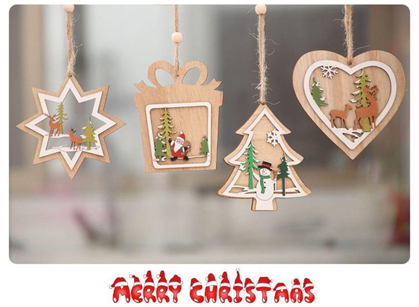 decoraciones de Navidad, árbol de Navidad colgante de madera campana de estrella de cinco puntas, copo de nieve rojo tridimensional,